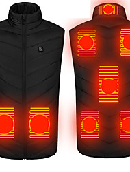 cheap -Men's Women's 8 Places Heated Vest Usb Heated Hiking Jacket Hiking Vest Gilet Winter Outdoor Camo Windproof Breathable Warm Soft Jacket Visible Zipper Camping Climbing Black Red Camouflage Blue