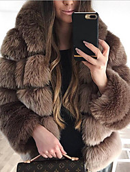 cheap -Women's Solid Colored Patchwork Active Fall & Winter Coat Long Daily Long Sleeve Faux Fur Coat Tops White