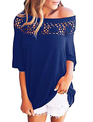 cheap -women off shoulder tops short sleeve basic blouses loose solid t-shirt casual lace shirt blue small