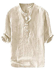 cheap -mens henley 3/4 sleeve shirts linen cotton button pullover curved t-shirt lightweight casual beach yoga tees & #40;xx-large, beige& #41;