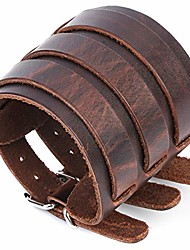 cheap -men's leather broadband cuff bracelet guard wristband alloy fastening armor cuffs (brown-2.7 inches wide)