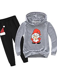 cheap -Kids Boys' Active Christmas Daily Wear Santa Claus Print Patchwork Print Long Sleeve Regular Clothing Set Gray