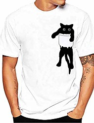cheap -hgwxx7 men's casual cat print tees short sleeve o-neck summer tops pullover t-shirt(small,white)