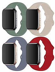 cheap -4 pack compatible with apple watch band 38mm 40mm,sport silicone soft replacement band compatible for apple watch series 5/4/3/2/1 [s/m size - lavender gay/pine green/stone/red]