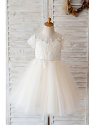 cheap -Ball Gown Knee Length Wedding / Birthday Flower Girl Dresses - Lace / Tulle Short Sleeve Jewel Neck with Belt / Buttons / Beading