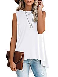 cheap -women's crewneck petite tunic tank tops high low casual sleeveless summer blouse t-shirt navy blue x-large