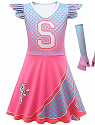 cheap -Cheerleader Costume Girls' Movie Cosplay Dance Glove Vacation Dress Pink Dress Gloves Christmas Halloween Carnival Polyester / Cotton Polyester