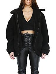 povoljno -pahuljasti ženski kaputi mješavina umjetne vune topla zimska jakna patentni zatvarač dugi rukav prevelika modna gornja odjeća (070-b-3xl) crna
