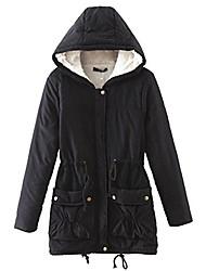 cheap -winter coats for women hooded, faux fur lined parka jackets with belt long warm black green pink navy (plus size us 14w-16w, black)