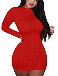 cheap -women's sexy elegant long sleeve work cocktail bodycon mini dress red