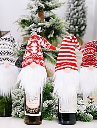 cheap -2pcs Christmas Decorations Knitted Hat Forest Elderly Wine Cover Faceless Doll Wine Cover Wine Bottle Decoration