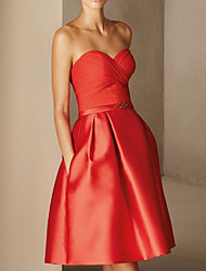 cheap -A-Line Minimalist Sexy Wedding Guest Cocktail Party Dress Sweetheart Neckline Sleeveless Short / Mini Chiffon Satin with Beading Draping 2021