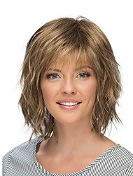 cheap -Synthetic Wig body wave Asymmetrical Short Dark Brown Grey Women's Fashionable Design Ombre Hair Exquisite
