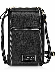 cheap -crossbody cell phone bag pu leather women's shoulder purse wallet with adjustable strap for smartphone credit cards passport, girls mini cross body messenger bag for travel shopping outdoor (black)