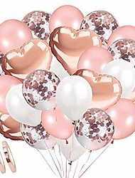 cheap -34pcs rose gold confetti balloons set including 20 pcs confetti balloons, 10 pcs rose gold balloons, 4 pcs aluminum foil love balloon