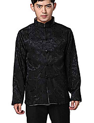 cheap -chinese traditional uniform top kungfu shirt for men us m asia l-black+grey