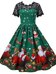 cheap -Santa Claus Christmas Dress Women's Adults' Leisure Christmas Christmas Polyester Dress