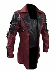 cheap -mens real leather goth matrix trench coat sexy stylish steampunk jacket (white) - (small)