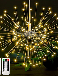 cheap -Firework Lights 150 LED Starburst Lights Copper Wire Lights 8 Modes Battery Operated Fairy Lights with Remote Warm White Hanging Christmas Lights for Party Patio Bedroom Decoration