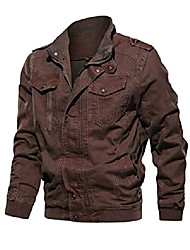 cheap -men's military bomber jacket air force cargo jackets stand collar windbreaker outdoor coat red xl