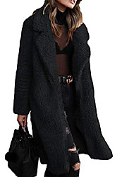 cheap -Women's Plus Size Plain Teddy Coat Jackets Winter Big Size XL XXL 3XL 4XL Black Dark Camel