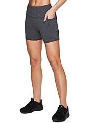 "cheap -active women& #39;s high waist cotton spandex 5"" inseam running yoga bike short with pockets charcoal 5-inch s"