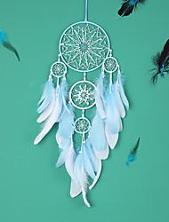 cheap -LED Boho Dream Catcher Handmade Gift Wall Hanging Decor Art Ornament Craft Feather 5 Circles 65*16cm for Kids Bedroom Wedding Festival