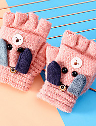 cheap -2pcs Kids Unisex Active Cartoon Knitted Wool Blends / Knitwear Gloves Red / Blushing Pink / Dusty Rose One-Size