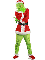 cheap -Inspired by The Grinch Santa Suit Grinch Anime Cosplay Costumes Japanese Cosplay Suits Top Pants Glove For Men's Women's Boys and Girls / Belt / Mask / Belt / Mask