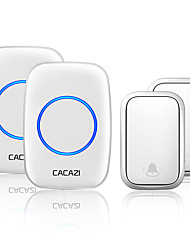 cheap -CACAZI Self-powered Wireless Doorbell Waterproof No Battery Chimes  Home Door 2 Button 2 Receiver