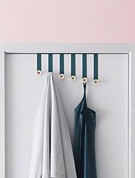 cheap -Door Hook Organizer Rack, Clothes Hanger, Coat Hook, Dark Blue Use in Bathroom and Bedroom, 6 Hooks, Black - 1pc