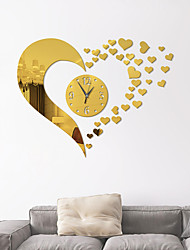 cheap -New Mirror Lovely Hearts Wall Clock Decal DIY Art Mirror Stickers Watch Self-adhesive Wall Decorations Living Room Wall Ornament