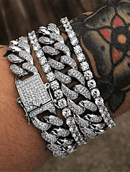 cheap -Tennis Bracelet Cuban Link Wave Fashion Alloy Bracelet Jewelry Gold / Silver For Party Evening Gift