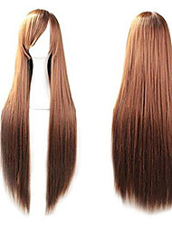 """cheap -40"""" 100 fashion women's cosplay hair wig long straight hair heat resistant costume party full wigs (brown)"""