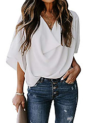cheap -womens blouses and tops casual summer wrap v neck shirts fashion 2020 loose tops white large