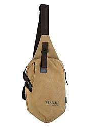 cheap -Unisex Bags Canvas Sling Shoulder Bag Chest Bag Zipper Daily Outdoor 2021 MessengerBag Black Khaki Brown
