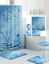 cheap -Butterfly Water Splash Digital Printing Four-Piece Set Shower Curtains  Hooks Modern Polyester Machine Made Waterproof Bathroom