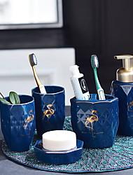 cheap -Bathroom Accessories Set, 5 Piece Ceramic Complete Bathroom Set for Bath Decor, Includes Toothbrush Holder, Soap Dispenser, Soap Dish, 2 Mouthwash Cup Holiday Bathroom Decoration Gift Idea