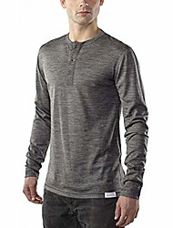 cheap -men's clothing long sleeve henley - everyday weight - wicking breathable anti-odor xxl chr charcoal