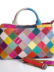 cheap -Women's Bags Leather Cowhide Top Handle Bag Zipper Daily Retro Handbags Black Rainbow