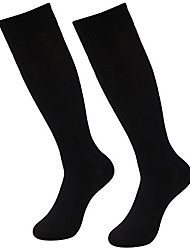 cheap -men's volleyball socks, 2 pairs knee high plus size fashion student team uniform socks tube long casual dress working socks size 7-13 black/red