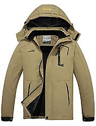 cheap -men's waterproof ski jacket mountain winter warm snow coat windbreaker snowboarding jacket with hood khaki small