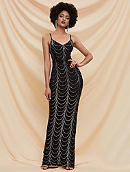 cheap -Sheath / Column Sexy bodycon Prom Formal Evening Dress Spaghetti Strap Sleeveless Floor Length Spandex Sequined with Sequin 2020