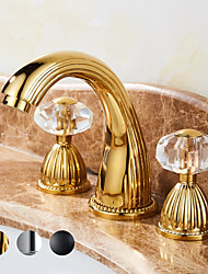 cheap -Bathroom Sink Faucet -Elegant Waterfall Gold Centerset Two Handles Three Holes