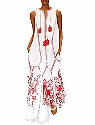 cheap -women vintage loose dress daily casual baggy caftan cotton ethnic embroidery floral tassel summer long maxi dresses red
