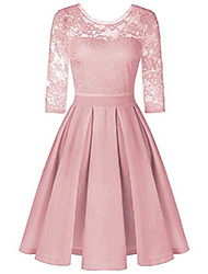 cheap -women's sexy vintage floral 3/4 sleeve solid color slim fit wedding cocktail party lace midi dress pink
