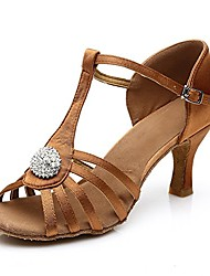 cheap -women's ladies sandals professional dance shoes rhinestone satin salsa ballroom latin dance shoes black/brown (5.5 us/22.5cm/cn35, brown 7cm heel)
