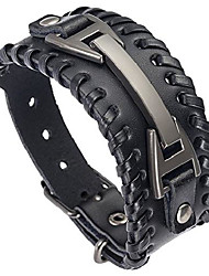 cheap -men leather bracelet punk braided rope alloy bracelet bangle wristband(black)