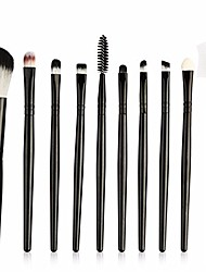 cheap -10pcs professional makeup brush set classic black handle eye shadow eyeliner make up brushes cosmetic beauty kit tools,black