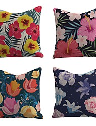 cheap -Set of 4 Linen Cotton / Linen Pillow Cover Pillowcase Sofa Cushion Square Throw Pillow Rainforest Colorful Beautiful Flowers Pillows Case 45*45cm